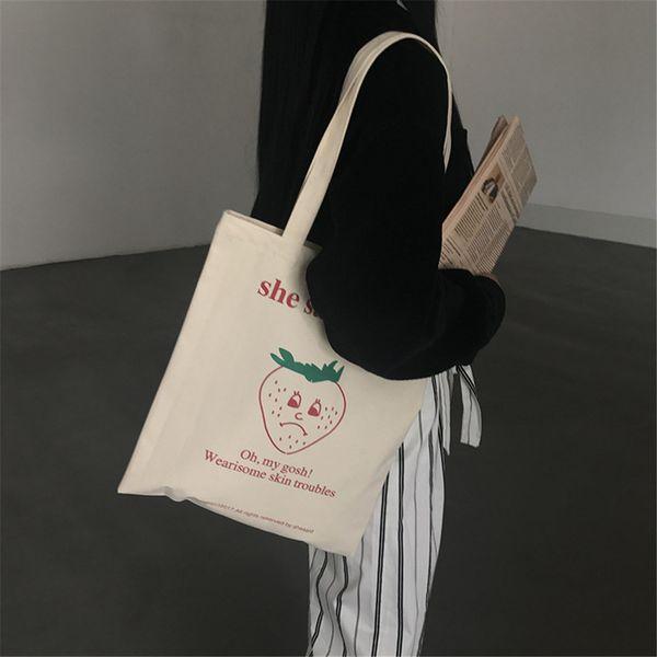 Washable Canvas Women Tote Bag All Seasons Cartoon Cute Fruit Apple Prints Handbags Students School Casual Daily Shoulder Bag