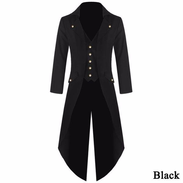 Großhandel 2019 Herren Mantel Vintage Steampunk Retro Frack Jacke Langarm Einreiher Gothic Viktorianischen Gehrock Plus Size BC7928 Von Qnfy001,