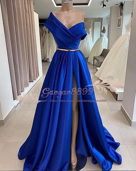 2019 images réelles bleu royal robes de soirée formelles sexy avant une épaule sash épaule d'or robes de soirée robes de soirée