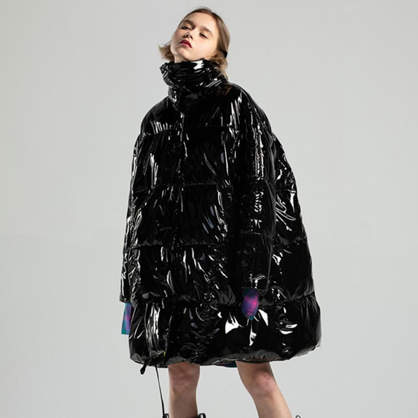 Winter Fashion Women's Down Jacket Black Glossy Patent Leather Reflective Oversized Coat Thick Warm Cotton Padded Outwear L1765