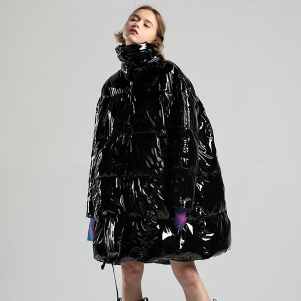 Abajo chaqueta Negro Charol brillante reflexión Escudo de gran tamaño de las mujeres la moda de invierno caliente grueso de algodón acolchado Outwear L1765