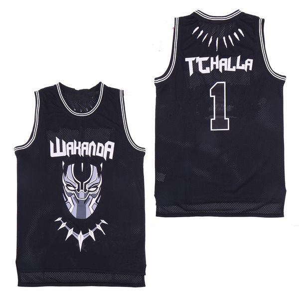Oscar SIYAH PANTHER Erik Killmonger JERSEY WAKANDA T'CHALLA MOIVE Kostüm Basketbol Formaları Erkekler Siyah işlemeli ücretsiz Dropshipping