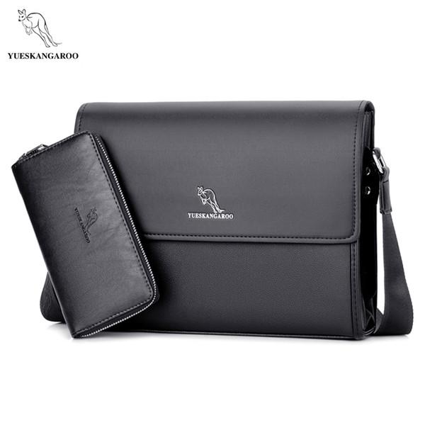 YUESKANGAROO Marca Bolsos para hombres Maletín Casual Hombres Messenger Bag A4 Document Leather Male Shoulder Bag