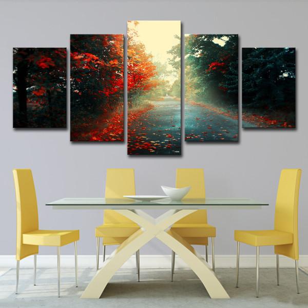 Холст картины стены искусства декора HD печатает плакат 5 шт. Красный клен лес улица природные пейзажи фотографии гостиная