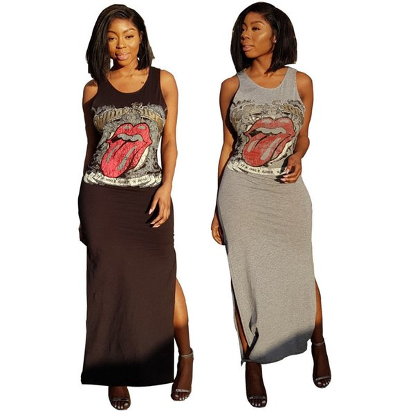 Lip Print Casual Maxi Dress Women Summer Stylish Double Side Split Shift Dress Sleeveless Round Neck Long T Shirt Dress Black