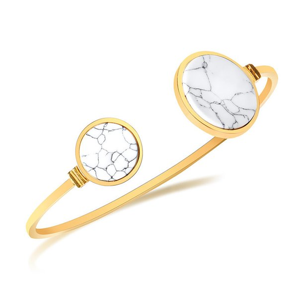 Gold Color Fashion Simple Lady's Gemstone Circle White Turquoise Bangle Stainless Steel Bracelet Watchband Jewelry Gift for Lady Women J331