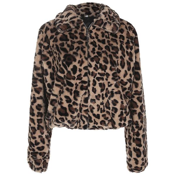Leopar Baskı Faux Kış Sıcak Uzun Parka Kürk Palto Bayanlar Uzun Kollu Casual Kalın Coat Palto Streetwear 2019 Yeni # Y8