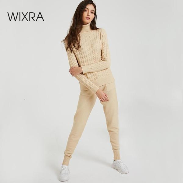 Wixra malha camisola das mulheres Define Turtleneck manga comprida Camisolas Tops + uns bolsos de calças longas Solid 2 Pieces ternos Inverno Costume Y190921