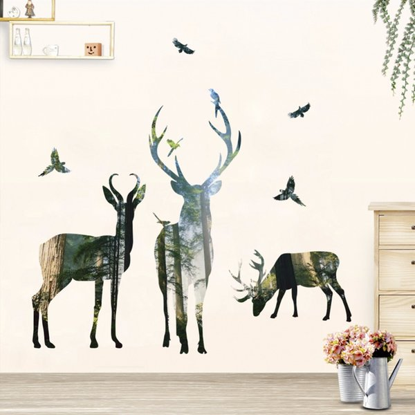 3D Deer Silhouette Wall Stickers For Kids Room Home Decor Bedroom Forest Tree Wall Decals Elk Birds Art Mural Poster Wallpaper
