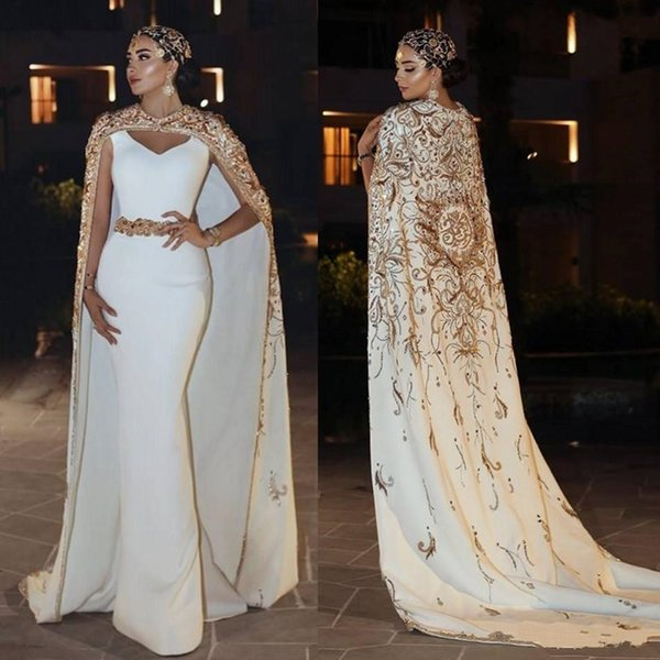 Ashi Studio Mermaid Prom Dresses With Cloak Gold Sparkly Lace Applique Beads Formal Evening Gowns V Neck Floor Length Party Dress