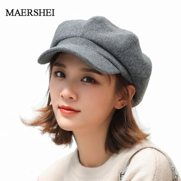 MAERSHEI wool Women Beret Autumn Winter Octagonal Cap Hats Stylish Artist Painter Newsboy Caps Black Grey Beret Hats
