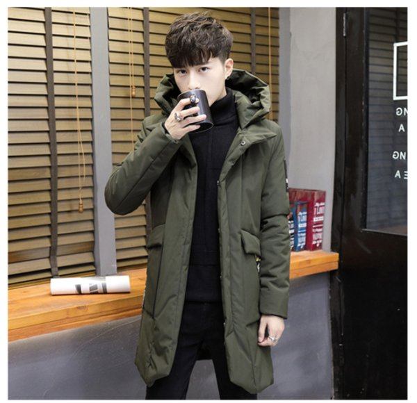 Mens Long Coat 2019 New Arrival Fashion Long Sleeve Winter Stand Collar Hooded Youth Men Thick Warm Men's Coat