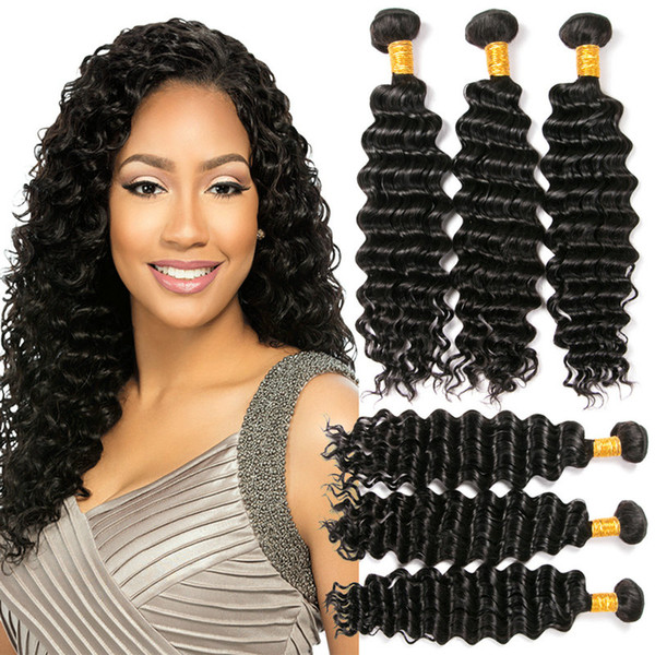 100% de cheveux humains non transformés vierge de vague profonde de cheveux de vague 3 faisceaux brésiliens tissent des cadeaux de Chirstmas pour les femmes noires