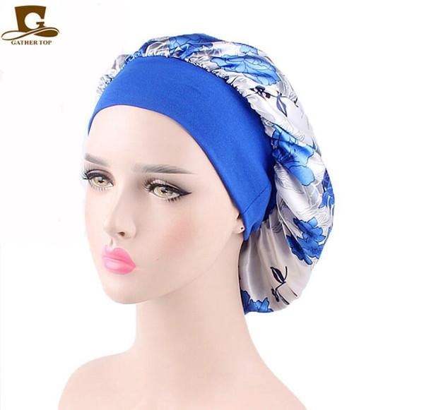 Women Soft Satin Night Sleep Cap Salon Bonnet Luxury Wide Band Hair Loss Cap Chemotherapy Hat Cap