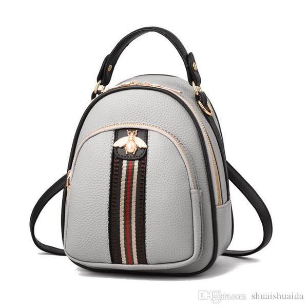 2019 High quality PU Backpack Leisure backpack lady bag travel bag Small big capacity Handbag Woman bag Backpack Style Fashion Bags Mini D47