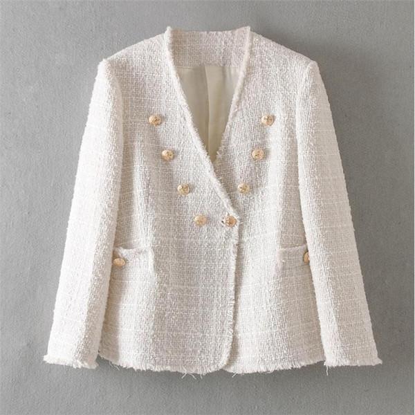 Moda Elegante Cappotto Donna Doppio Petto collo di V Giacca Office Lady casuale Outwear Womens Jaquetas Feminina YT50131