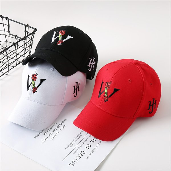 5eda21797e22c New Korean version of personality letters Embroidered Baseball Cap women  fashionable couple duck tongue cap sunscreen