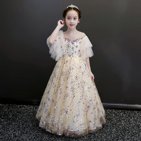 Mode bodenlangen handgefertigten Blumen Blumenmädchenkleider Kurzarm Kinder Festzug Kleider lange Blumenmädchenkleider für Hochzeiten