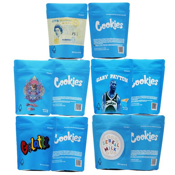 COOKIES California SF 3.5g Mylar Childproof 420 Fiore Packaging Borse Cheetah Piss Gelatti Gary Payton Londra Pound Cake cereali Pacchetto latte
