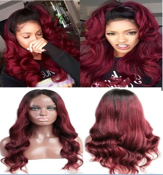 Ombre Lace Front Wigs 100% Peruvian Virgin Human Hair Ombre Dark Root Full Lace Wigs 30 inches Long Hair Loose Wave Free Shipping