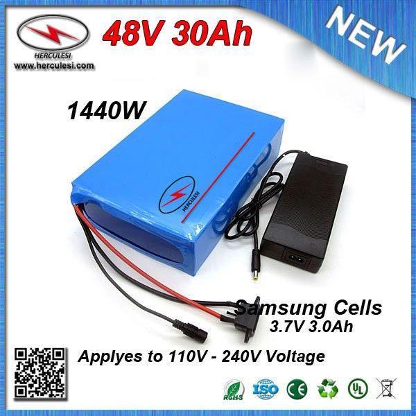 Encaixotado PVC de ciclo Batería de batería de 48 V 30Ah com Samsung 18650 celular 1000 W bicicleta elétrica Scooter en 30A BMS