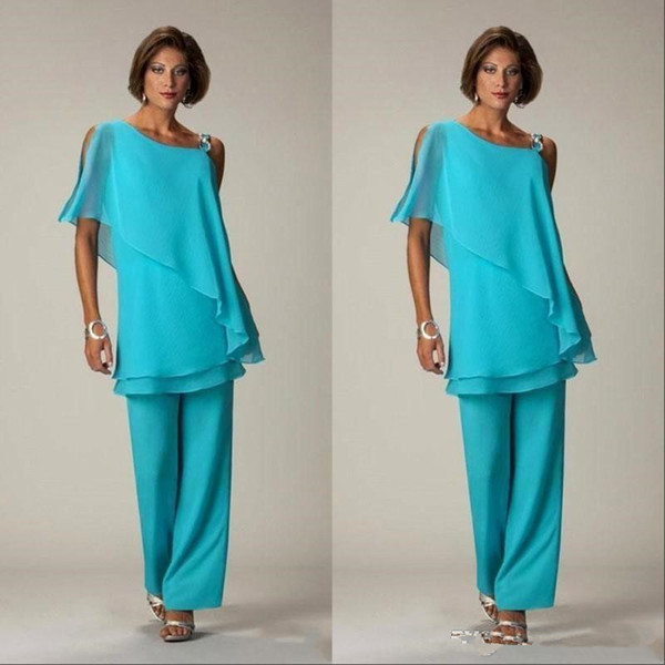 Two Pieces Chiffon Mother Of The Bride Pant Suits One Shoulder Wedding Guest Dress Plus Size Cheap Mother Groom Dresses