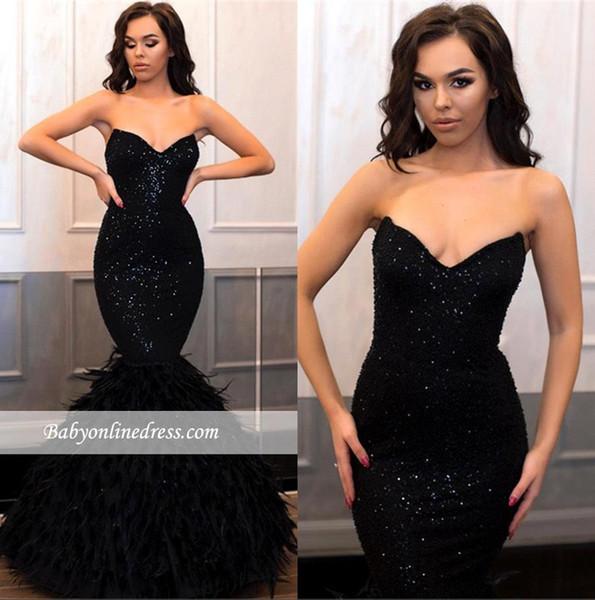 Schwarze Pailletten Prom Abendkleider 2019 Sexy Vintage Mermaid Formale Party Kleid Mantel Strapless Feather Pageant Kleider
