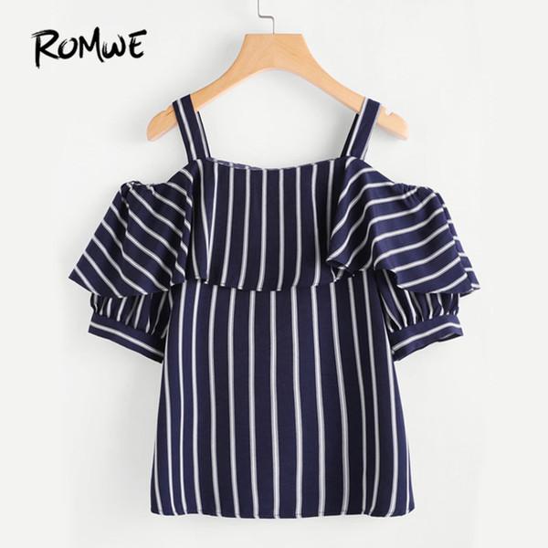 Romwe femmes épaule ouverte couches superposées rayé top femme été épaule froide manches demi chemise à volants tunique marine Blouse Y19042902