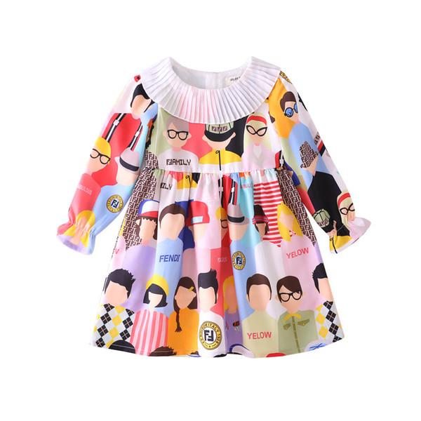 Yeni kız karakter baskı elbise marka tasarımcısı mektup elbise moda rahat dikiş elbise pamuk uzun kollu hoodie / gömlek