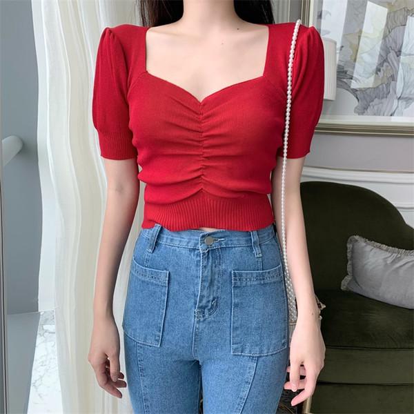 Designer De Mode Court T-shirts D'été Femmes Marque Tshirt Tricoté Crop Tops Col V Camisetas Mujer Tees De Base Des Vêtements Coréens
