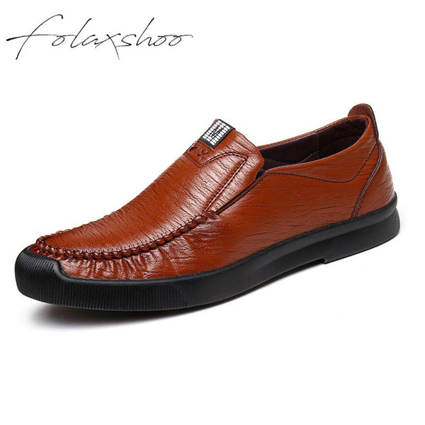 Folaxshoo Mens Shoes Slip-on Casual Shoes Men Loafers Mocassin Homme High Quality Driving Soft Walking Flats New Platform