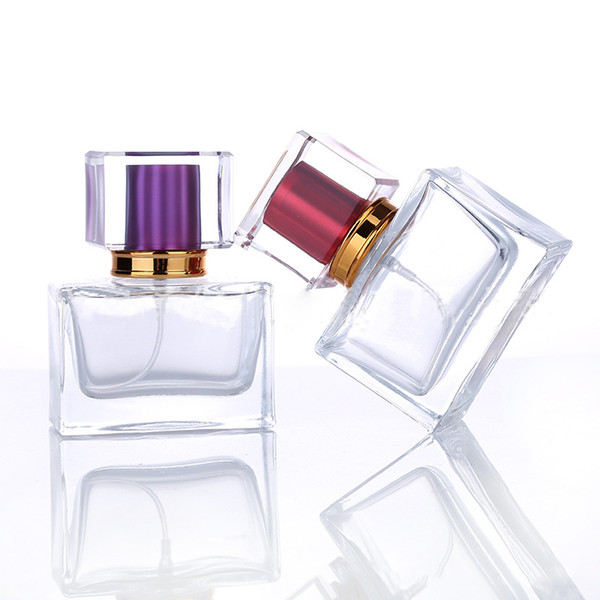 Most Popular 30ML Portable Glass Perfume Bottles Essential oil Spray Bottles With Colorful Atomizer Empty Cosmetic Case For Traveler