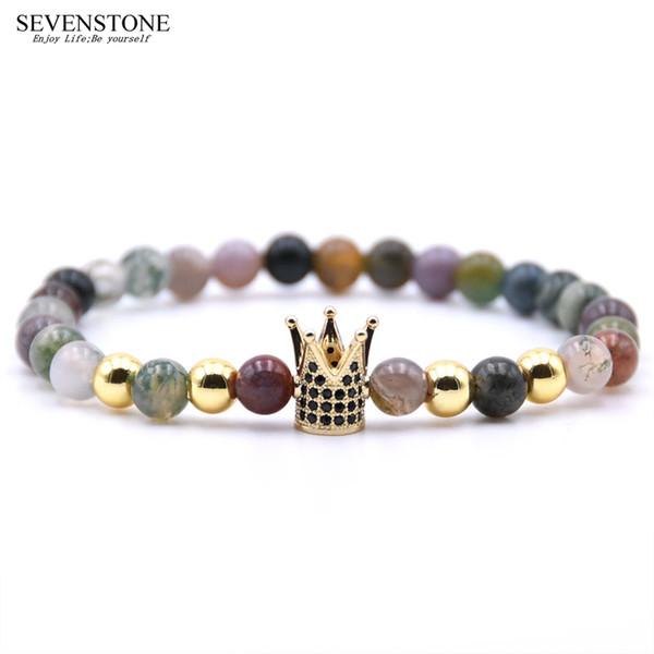 SEVENSTONE 2019 New Fashion Hip Hop Schwarz Gallensteine Kupfer Männer Armband Perlen Indian Achat Legierung Armband für Frauen