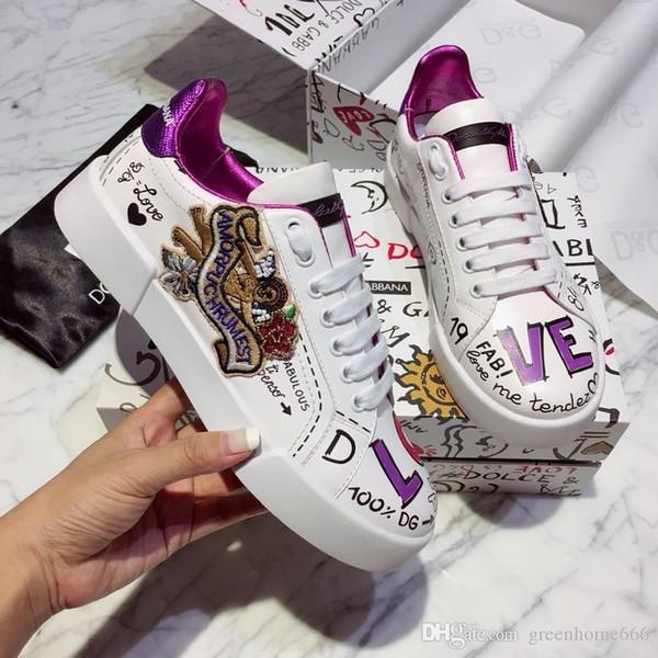 19DOLCEGABBANAS chaussures de designer pour hommes PORTOFINO SNEAKERS WITH PATCH blanc ace de la mode hommes femmes chaussures