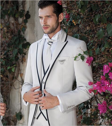 White/Ivory Wedding Suits For Men Black Edge Elegant Groom Formal Tuxedo Custom Made Party Prom Suits Costume Homme Mariage 3PCS