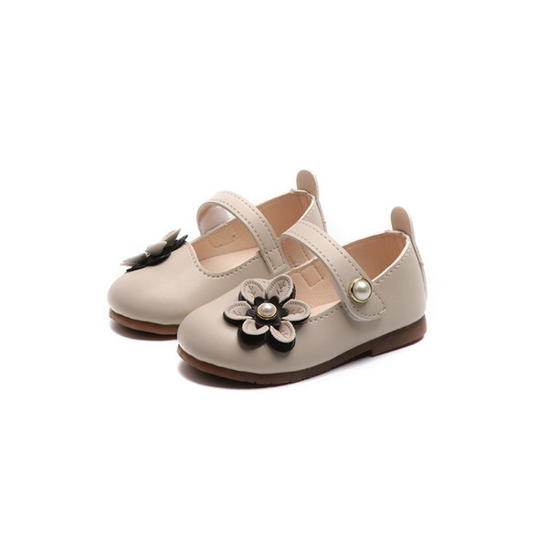 2019 New Flowers Children Kids Baby Little Girls Toddler Princess Leather Shoes For Girls White Wedding Party Dress Shoes