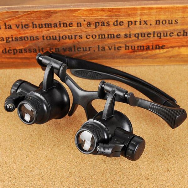 Nuevo diseño de gafas binoculares Tipo 20X Reparación de relojes Lupa con óptica de caza con luz LED En stock Caliente