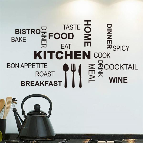 Cucina di citazioni della parete adesivi murali alimentari di arte DIY del vinile adesivo de Paredes decalcomanie domestiche Art Poster divano della casa della parete della decorazione