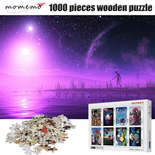 MOMEMO Purple Planet Casse-tête 1000 pour adultes Jeux de Casse-tête 1000 pièces en bois Puzzle Jouet Casse-tête pour enfants Enfants