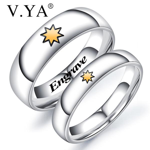 V.YA Anello da coppia con scritta su due lati per donna Anelli in acciaio al titanio Accessori da giorno Nome personalizzato Gioielli da sposa semplici