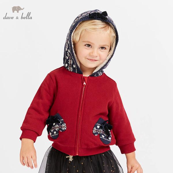 Dave Bella Bebek Kız Pamuk Ceket Çocuk Kırmızı Giyim Moda kırmızı Ceket DB8437