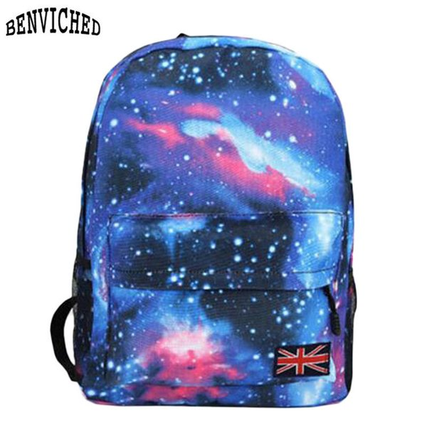New 2019 Fashion Backpack Woman's Schools Shoulder Bag Unisex Stars Universe Space Printing Preppy Style Canvas Female Backpacks