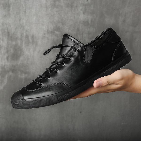 Erkekler inek deri rahat rahat ayakkabılar yeni ilkbahar ve sonbahar moda sneakers erkek ayakkabı kore versiyonu 2019 Marka düz