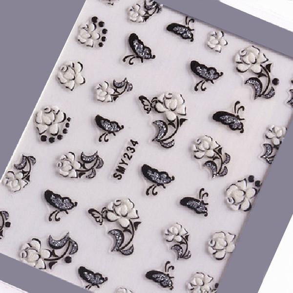 1 Hoja Etiqueta Engomada Del Arte Del Clavo de Plata Calcomanías con Brillos Flor Mariposa Decoración de uñas 3D Negro Blanco Pegatinas Diseño de manicura