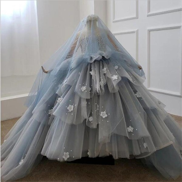 Luxury Ball Gown Flower Girl Dresses Lace Beaded Pearls Handmade Flowers Long Sleeve Little Kids Birthday Gift Party Girls Pageant Gowns