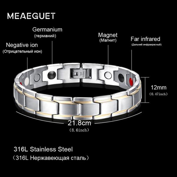 12mm Magnétique Santé Bracelets pour Hommes En Acier Inoxydable Mode Germanium Thérapie Magnétique Bijoux Pulsera bijoux Dropshipping SBRM-004