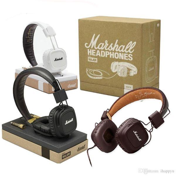 Hot Marshall Major auriculares con micrófono Deep Bass DJ Hi-Fi Headset HiFi Headset Professional DJ Monitor sobre la oreja los auriculares