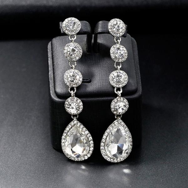 Coreano Moda Brincos Gota Pingente de Cristal Brilhante Rhinestone longo Dangler para mulheres lindas jóias acessórios de