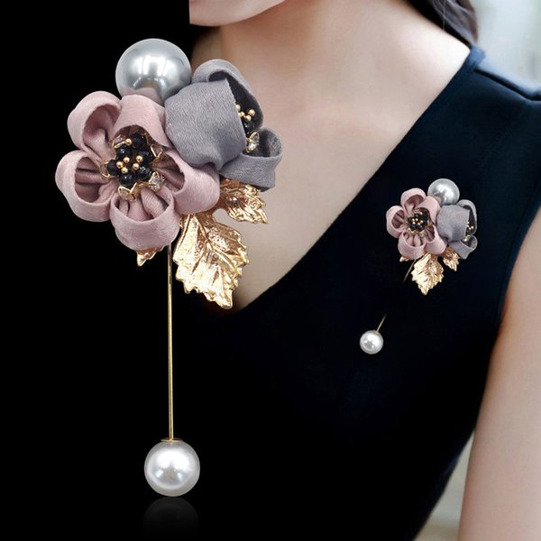 SexeMara signore panno perla di arte Tessuto Fiore Spilla Pin Cardigan Shirt Gioielli Scialle Pin professionale Coat Badge Accessori