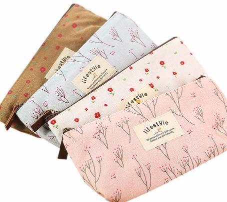 Cute Kawaii Floral Flower Canvas Zipper Pencil Cases Lovely Fabric Flower Pen Bags School Supplies Free Shipping